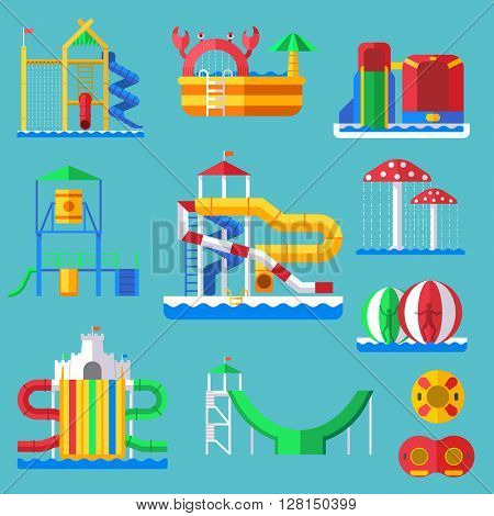 Water quapark playground with slides and splash pads for family fun vector illustration.