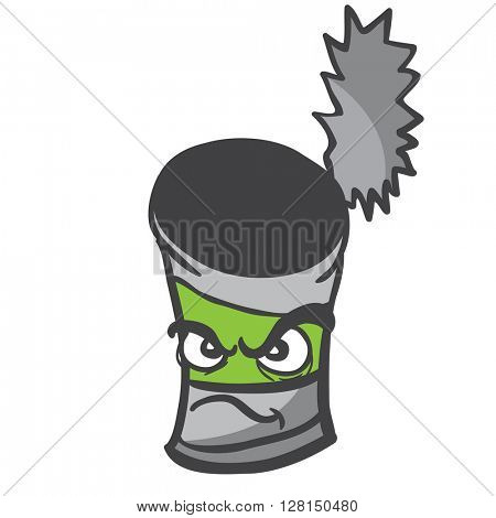 angry empty can cartoon illustration isolated on white
