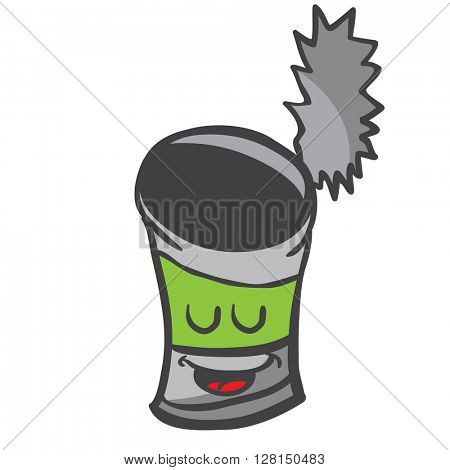happy empty can cartoon illustration isolated on white