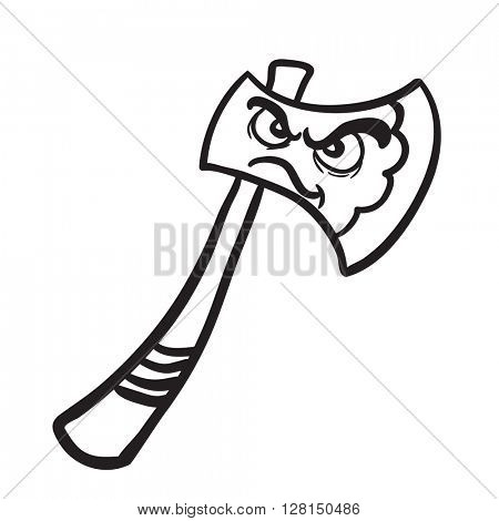 black and white angry axe cartoon illustration isolated on white