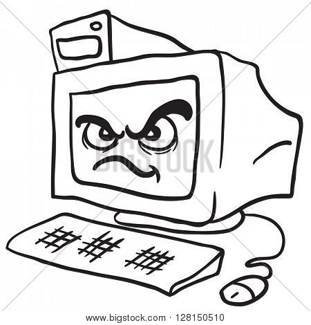 black and white angry computer cartoon illustration