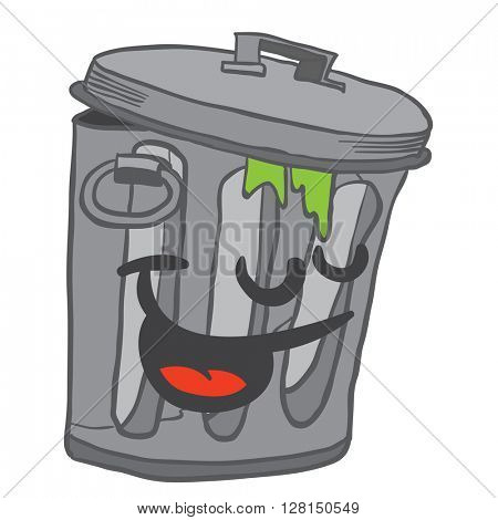 happy garbage can cartoon illustration