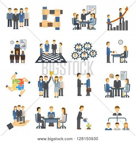 Teamwork icons set group symbol communication social design person meeting vector illustration