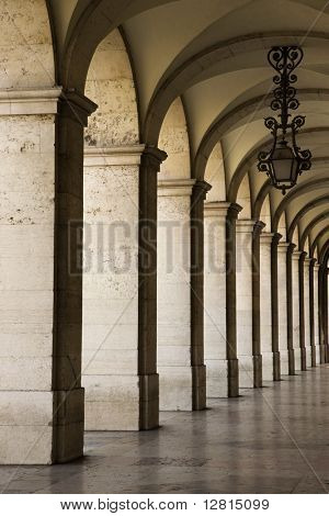 Colonnade in Lisbon, Portugal.