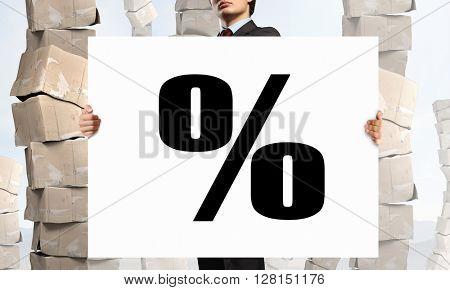 Businessman showing banner
