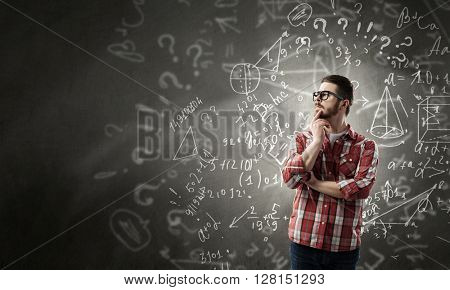Pensive guy in shirt and glasses