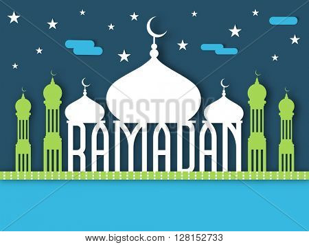 Creative shiny Mosque with stylish text Ramadan on stars decorated background for Islamic Holy Month of Prayers, celebration.
