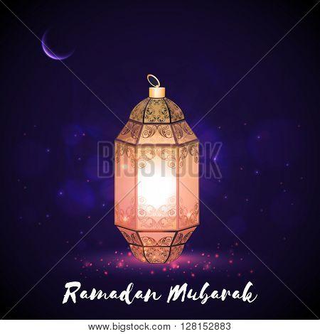 Beautiful illuminated Lamp on night background for Holy Month of Muslim Community, Ramadan Mubarak celebration.