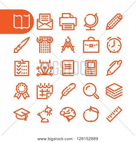 Education and learning icons. Fat Line Icon set of education, learning and school for web and mobile. Modern minimalistic flat design elements of learning and education, school supplies