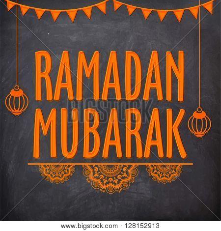 Elegant greeting card design with stylish text Ramadan Mubarak and hanging Lamps on chalkboard background for Holy Month of Muslim Community Festival celebration.