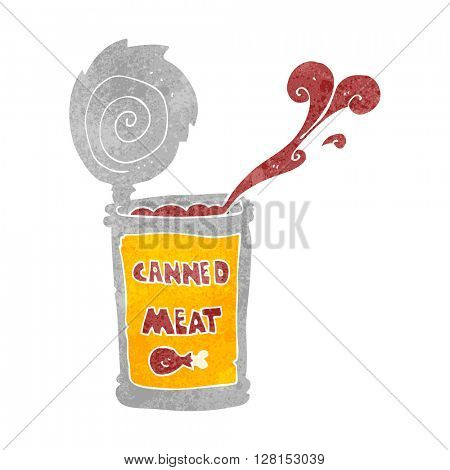freehand retro cartoon canned meat