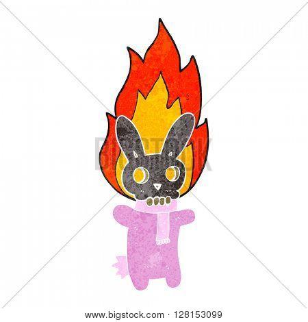 freehand retro cartoon flaming skull rabbit
