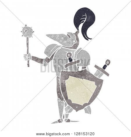 freehand retro cartoon medieval knight with shield