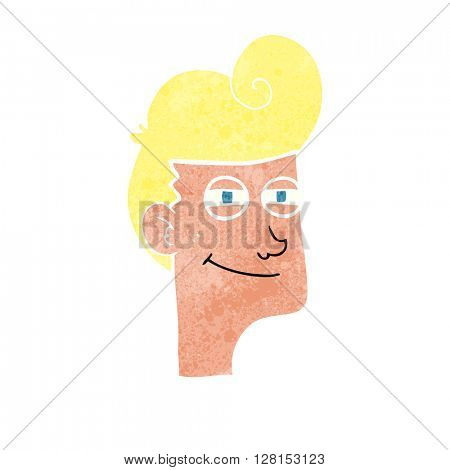 freehand retro cartoon smiling man