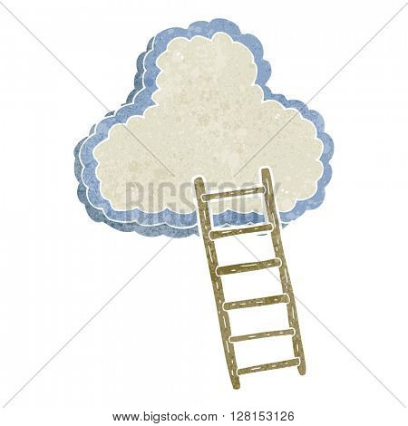 freehand retro cartoon ladder to heaven
