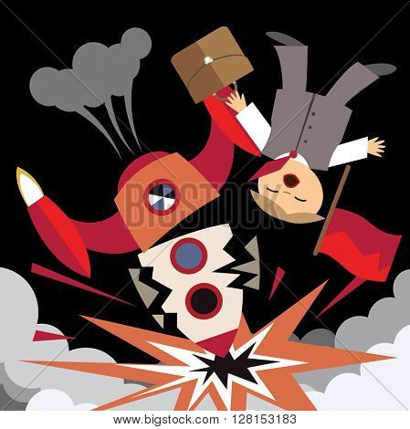 Business failure, the rocket crash (flat illustration)
