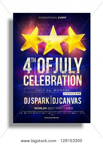 Golden Stars decorated, Pamphlet, Banner or Flyer design for 4th of July, American Independence Day Party celebration.