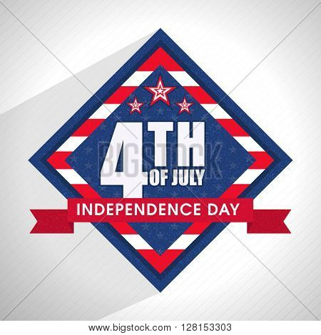 Stylish text 4th of July on American Flag Color frame for Independence Day celebration.