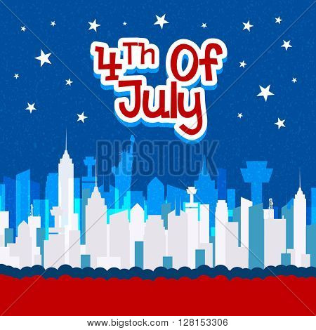 Elegant greeting card design with view of New York city for 4th of July, American Independence Day celebration.