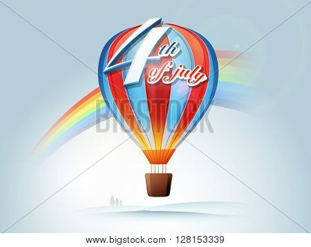 Stylish text 4th of July on red and blue hot air balloon, creative rainbow decorated background for American Independence Day celebration.