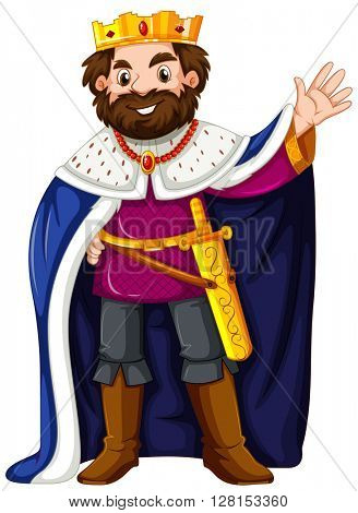 King wearing blue robe illustration