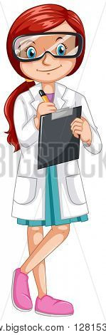 Female scientist recording experiment illustration