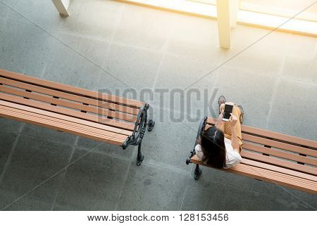 Top view of woman use of cellphone