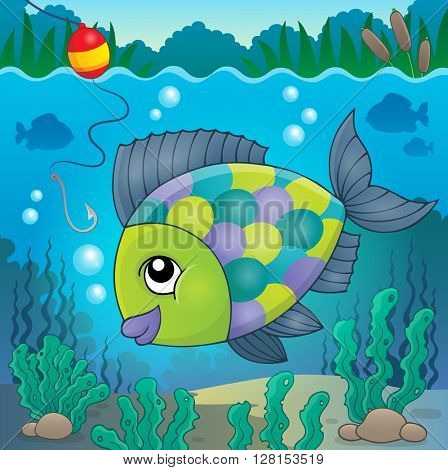 Freshwater fish topic image 3 - eps10 vector illustration.