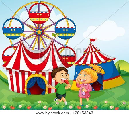 Boy and girl enjoying circus illustration