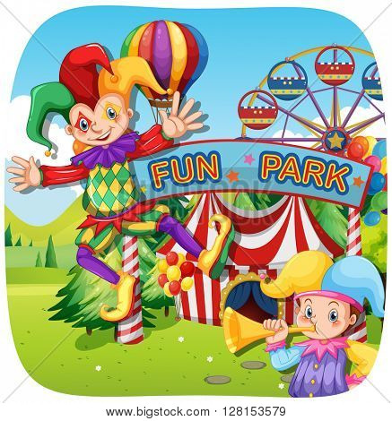 Two jesters at the fun park illustration