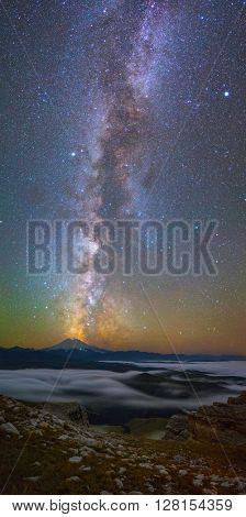 Milky Way over Mount Elbrus