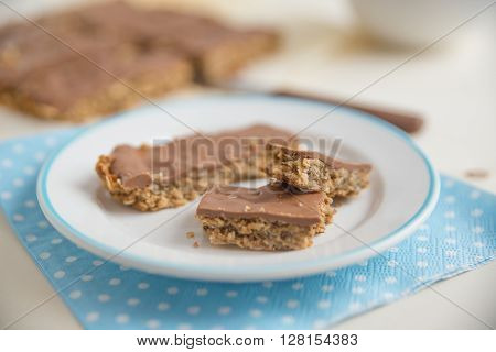 Home made healthy chocolate granola bars on a plate