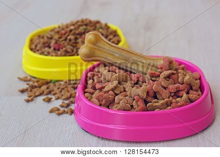 Bowls with dog food on the floor
