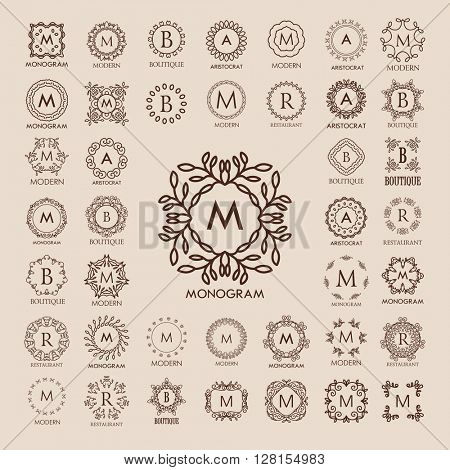Big bunch of luxury, simple and elegant monogram design templates. Good for labels and logos. Vector illustration. Line style. Big set of monograms. Vector monogram.