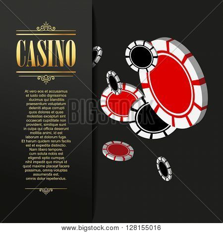 Casino background. Vector Poker illustration. Gambling template. Casino design with flying poker chips.  Vector casino gambling illustration.