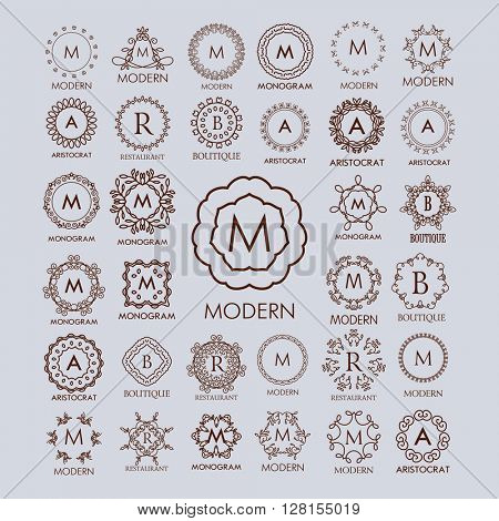 Big bunch of luxury, simple and elegant monogram design templates. Good for labels and logos. Vector illustration. Line style. Big set of monograms. Monogram design.