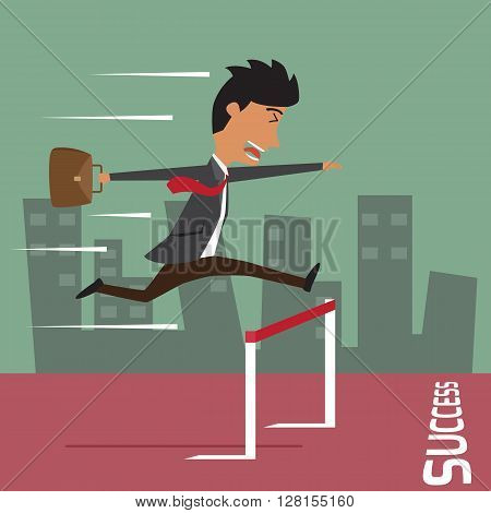 Businessman run with jumping over hurdle business competition and success concept vector