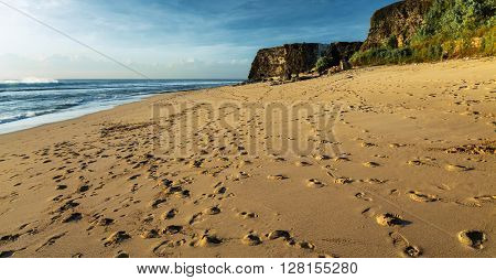 Sandy beach with footprints clear blue sky and green trees