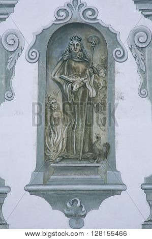 BENEDIKTBEUERN, GERMANY - OCTOBER 19: Saint, fresco in the famous Benediktbeuern abbey, Germany on October 19, 2014.