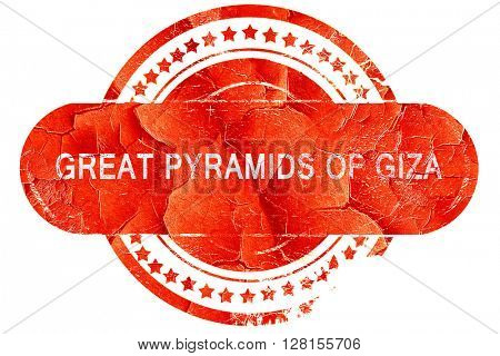 great pyramids of giza, vintage old stamp with rough lines and e