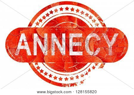 annecy, vintage old stamp with rough lines and edges