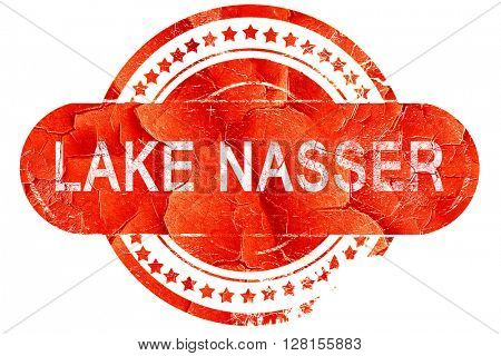 lake nasser, vintage old stamp with rough lines and edges