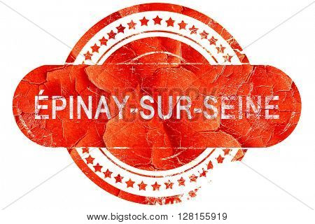Epinay-sur-seine, vintage old stamp with rough lines and edges