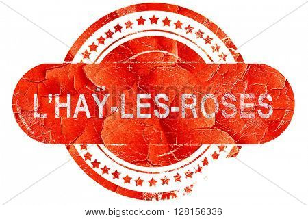 l'hay-les-roses, vintage old stamp with rough lines and edges