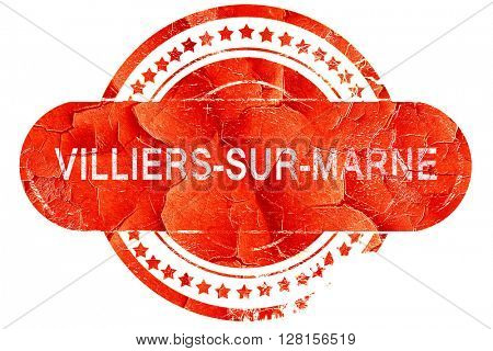 villiers-sur-marne, vintage old stamp with rough lines and edges