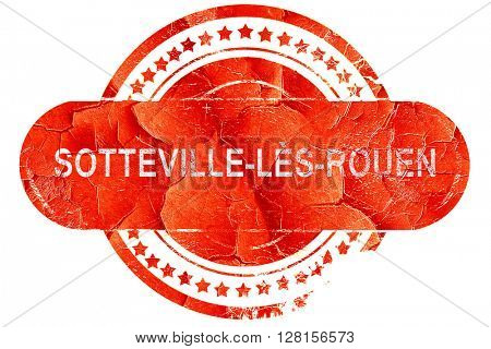 sotteville-les-rouen road sign, vintage green with clouds backg,