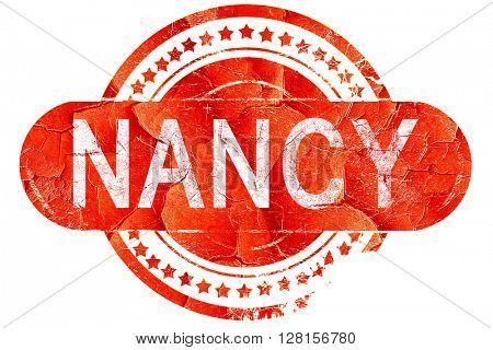 nancy, vintage old stamp with rough lines and edges