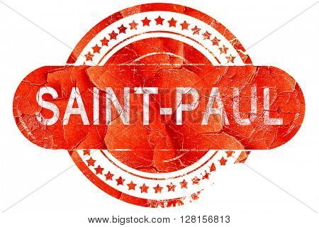 saint-paul, vintage old stamp with rough lines and edges