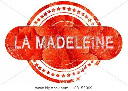 la madeleine, vintage old stamp with rough lines and edges
