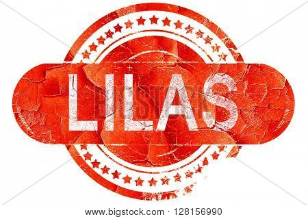 lilas, vintage old stamp with rough lines and edges